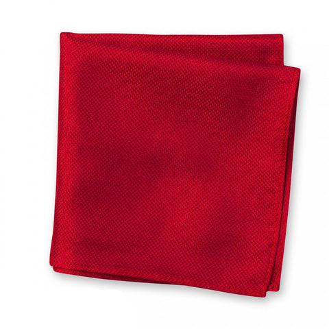 Dark Red Silk Plain Classic Textured Handkerchief