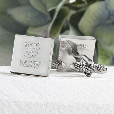 Valentine Names and Love Heart Cufflinks