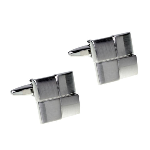 Overlapping Silver Squares Cufflinks