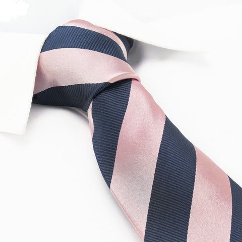 Pink & Navy Woven Striped Silk Tie