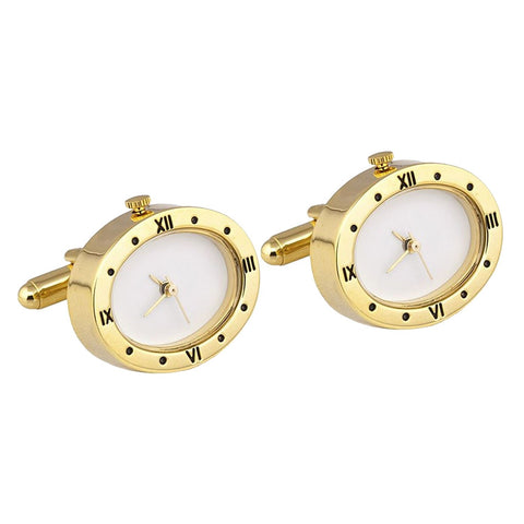 Gold Plated Oval Working Watch Cufflinks