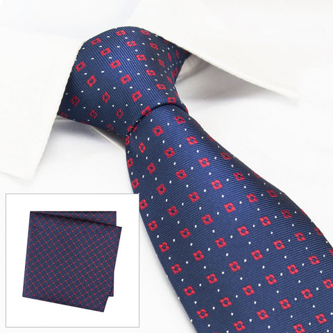 Navy & Red Flower Spot Silk Tie & Handkerchief Set