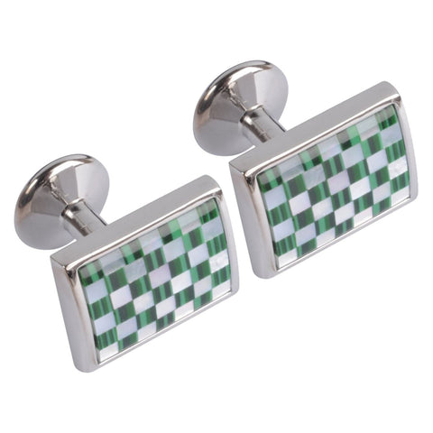Two Tone Green Chequered Cufflink