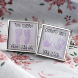 Personalised Newborn Cufflinks (Pink)
