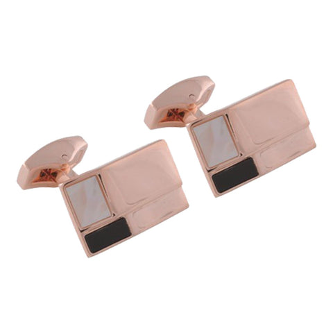 Rose Gold Ridged Onyx and Mother of Pearl Stone Cufflinks