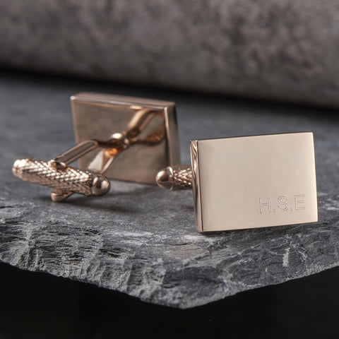 Rose Gold Rectangle Initial Cufflinks