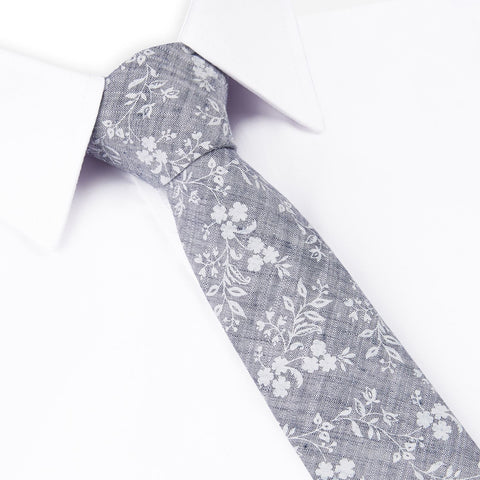 Grey Printed Floral Slim Tie