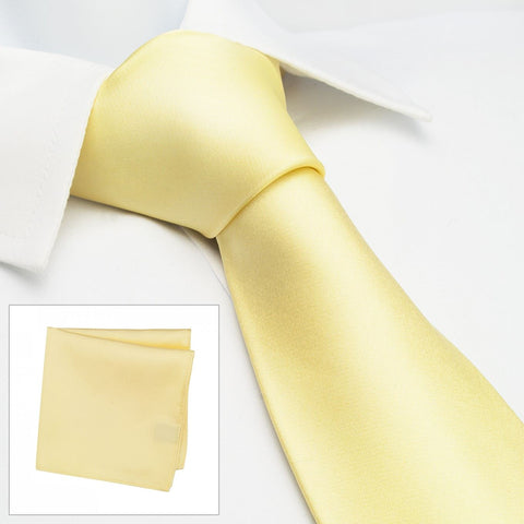 Plain Lemon Yellow Silk Tie & Handkerchief Set