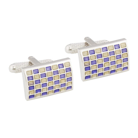 Rectangular Purple & Cream Cufflinks