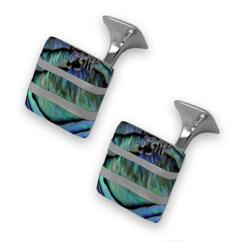 Sterling Silver Oyster Shell Wave Cufflinks