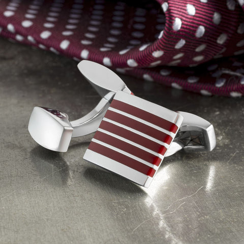 Red & Silver Striped Cufflinks