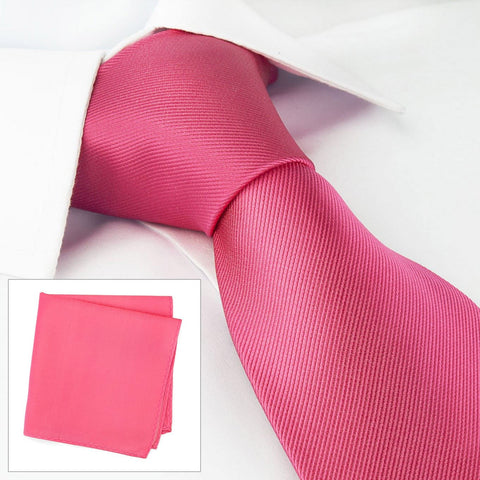Plain Fuchsia Woven Silk Tie & Handkerchief Set