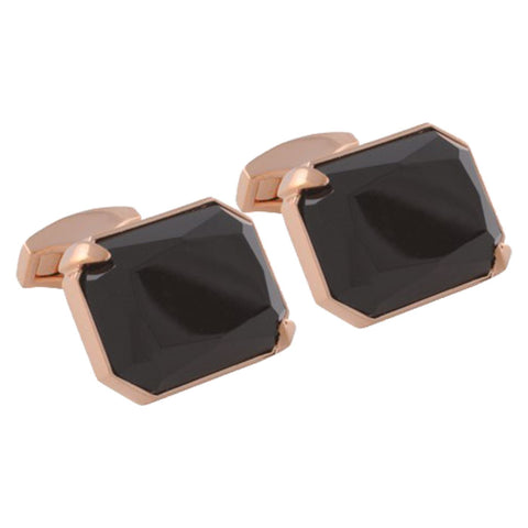 Shaped Onyx Cufflinks with Rose Gold Plating