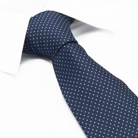 Navy Neat Pin Dot Silk Tie