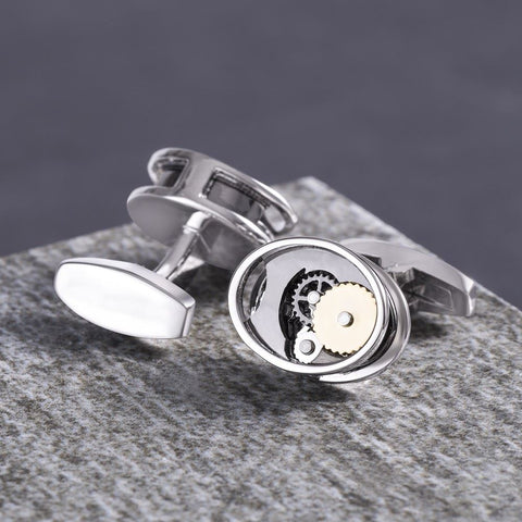 Oval Gear Movement Cufflinks