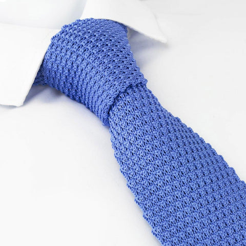 Blue Knitted Square Cut Tie