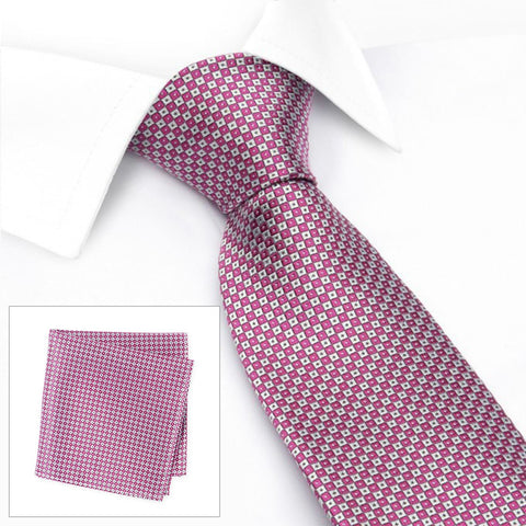 Magenta & Silver Square Patterned Silk Tie & Handkerchief Set