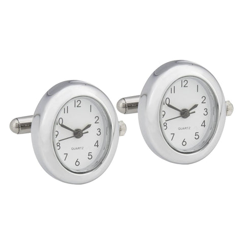 Silver Plated Oval Watch Cufflinks