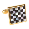 Gold Plated Mother of Pearl Chequered Cufflinks