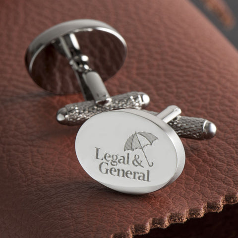 Logo Engraved Cufflinks, Silver Plated Oval