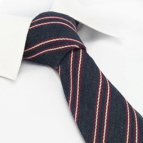 Navy & Red Club Stripe Wool Mix Tie