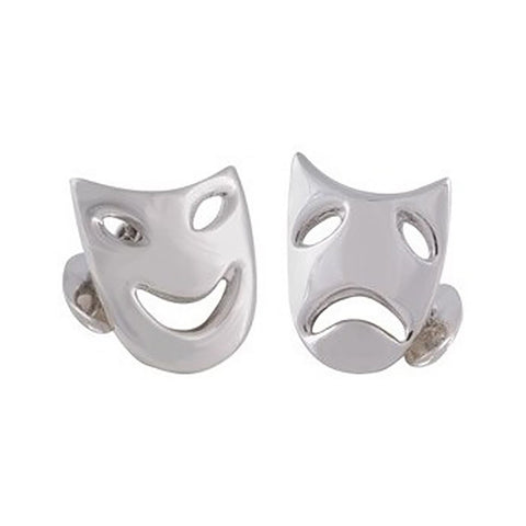 Sterling Silver Comedy & Tragedy Mask Cufflinks
