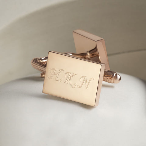 Rose Gold Plated Engraved Initial Cufflinks