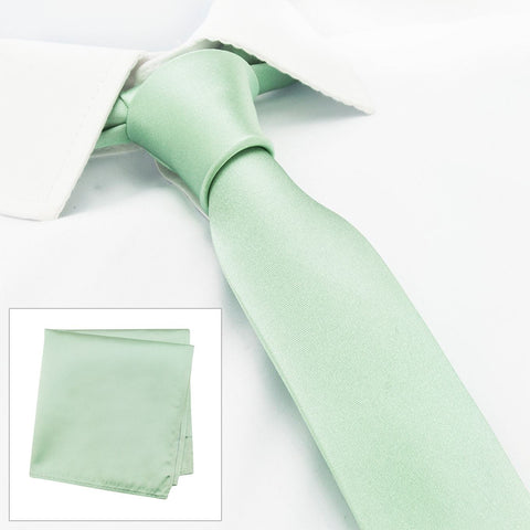 Plain Mint Slim Silk Tie & Handkerchief Set