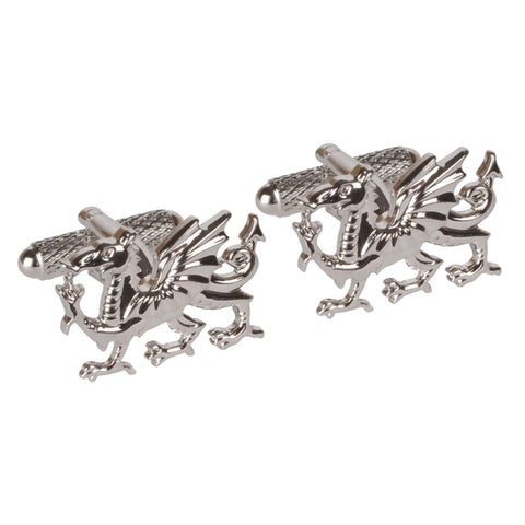Rhodium Plated Welsh Dragon Cufflinks