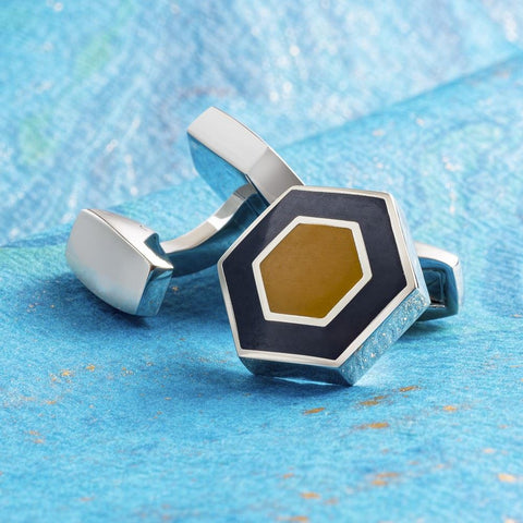 Two Tone Orange & Navy Polygon Cufflinks