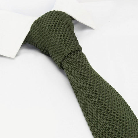 Country Green Knitted Square Cut Tie