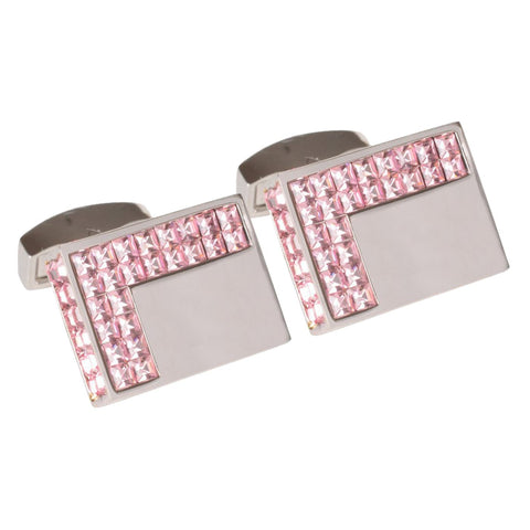 Light Pink Swarovski Crystals Cufflinks