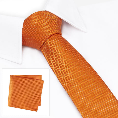 Orange Micro Square Woven Slim Silk Tie & Handkerchief Set