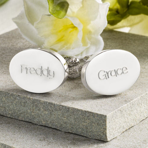 Child's Names Engraved Silver Oval Cufflinks