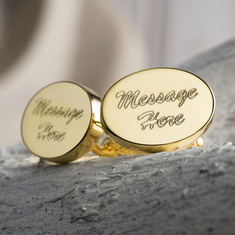 Golden Plated Oval Cufflinks (Engraved)