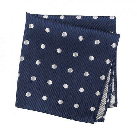 Navy Silk Handkerchief With White Polka Dots