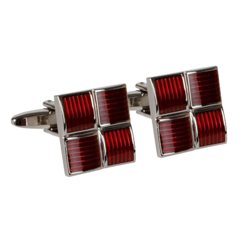 Four Squared Red Cufflinks