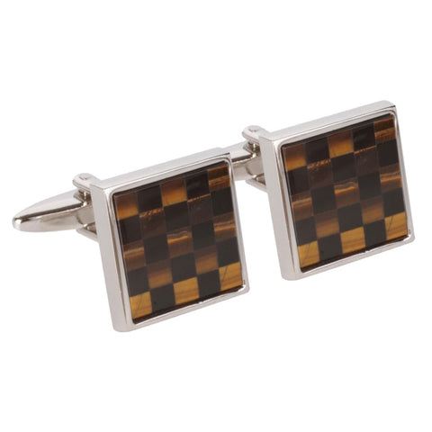 Black & Brown Chequered Square Cufflinks