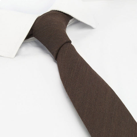 Plain Brown Wool Mix Slim Tie