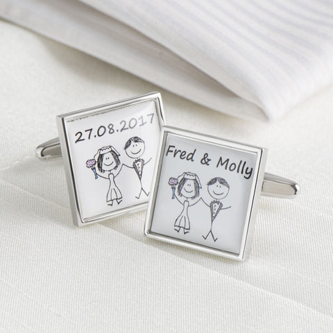 Personalised Bride & Groom Names & Date Cufflinks