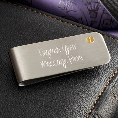 Engraved Stainless Steel Gold Corner Money Clip