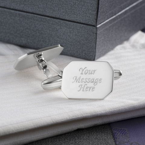 Engraved Cufflinks, Sterling Silver Octagon