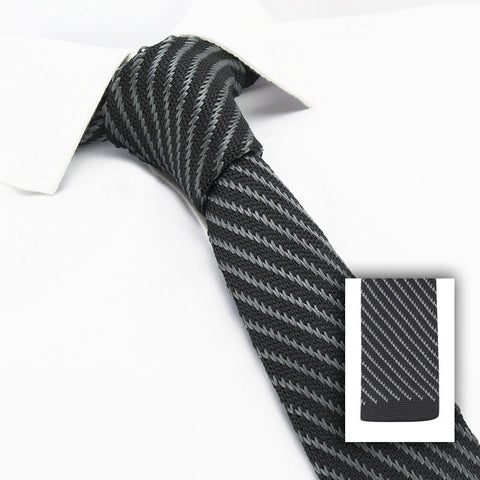 Black & Grey Striped Knitted Square Cut Tie