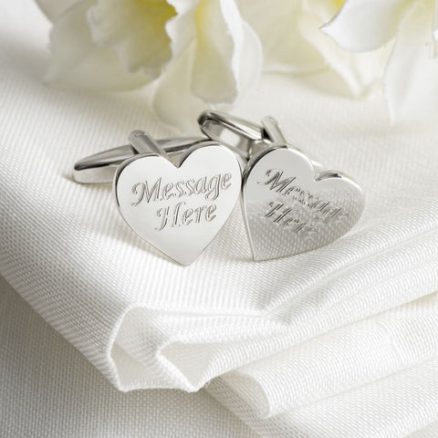 Engraved Cufflinks, Silver Plated Heart