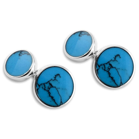Sterling Silver Round Turquoise Cufflinks