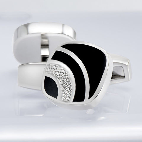 Executive Black Texture Lined Cufflinks
