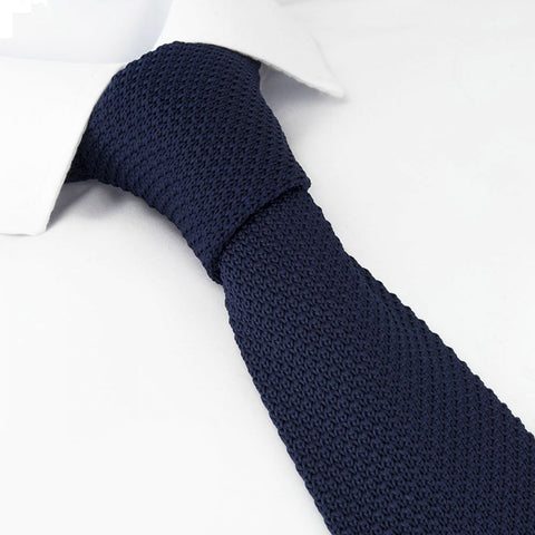 Navy Knitted Square Cut Tie