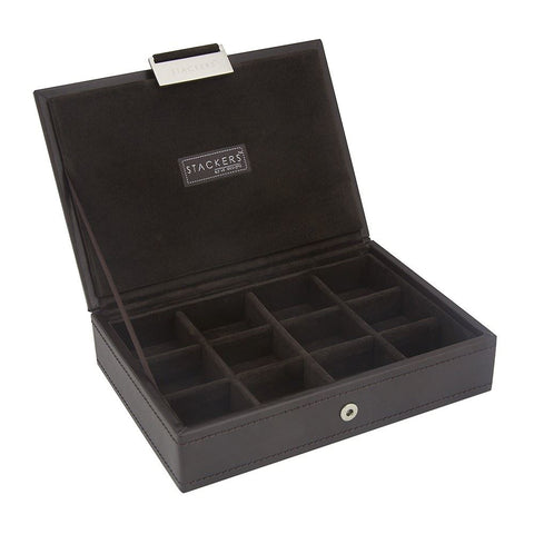 12 Cufflink Piece Lidded Stacker With Brown Velvet Lining