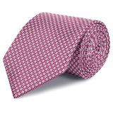 Magenta & Silver Square Patterned Silk Tie