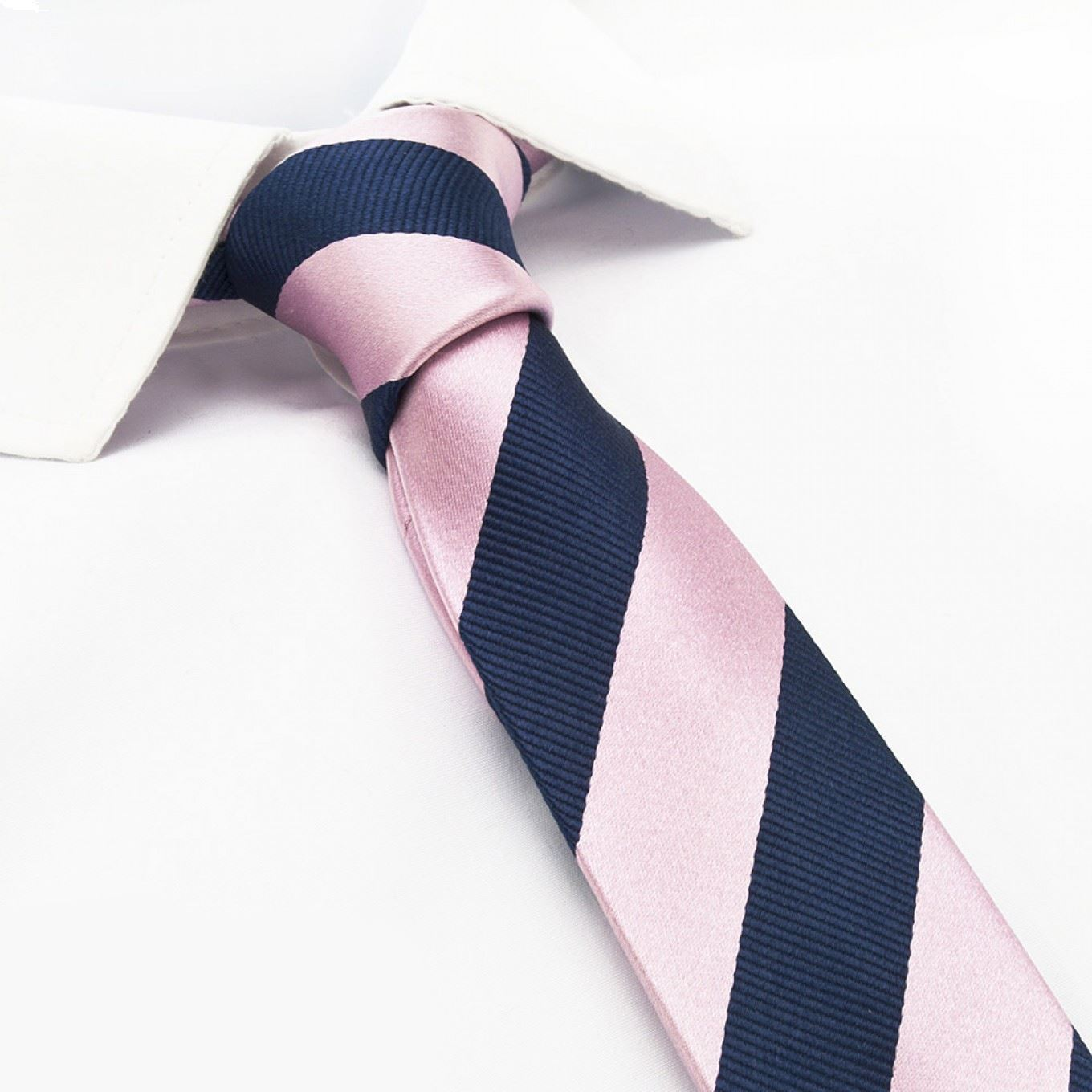 6a89ffde50e4 Pink & Navy Woven Striped Slim Silk Tie – The Cufflink Store